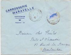 Enveloppe Pub Reclame - Carrosserie Maravelle - Septfonds - Tarn & Garonne - à Montauban 1942 - Publicités