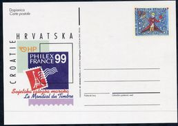 CROATIA  1999 Postal Stationery Card 3.50 K. PHILEXFRANCE 99 Exhibition Unused.  Michel P12 - Croatia