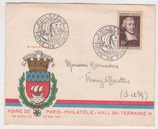 Enveloppe Premier Jour ; 15 Francs Jean Baptiste De La Salle -Foire Paris Philatelie  1951 -blason - France