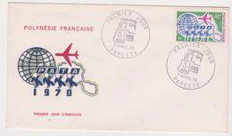Trois  Enveloppe Premier Jour Polynesie Francaise Tahiti -Maeva Taharaa Pata 1969 1970 - Grands Ensembles Immobiliers - France