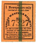 (I.B) Great Western Railway : Newspaper Parcel (one) - 1840-1901 (Victoria)