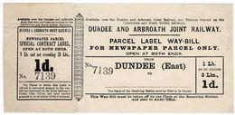 (I.B) Dundee & Arbroath Joint Railway : Newspaper Parcel Way-Bill 1d (Dundee) - 1840-1901 (Victoria)