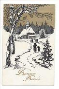18266 -  Bonne Année Paysage Enneigé Chappelle Ciel Doré - Nouvel An
