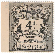 (I.B) Great Western Railway : Newspaper Parcel 4d - 1840-1901 (Victoria)