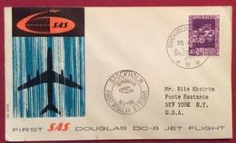 POSTA AERA AEROGRAMMA SAS  DOUGLAS DC-8 JET FLIGHT STOCKOLM - NEW YORK  28/4/1960 - Posta