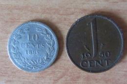 Pays-Bas / Nederland - 2 Monnaies Dont 10 Cent Wilhelmina 1895 Argent 640‰ (1 000 000 Ex) Et 1 Cent 1950 - TTB - 10 Cent