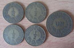 Pérou - 5 Monnaies Dont 4 1/2 Sol De Oro 1935, 1942, 1944, 1947 Et 1 Sol De Oro 1953 - TTB - Monnaies
