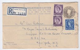 1962 GB REGISTERED Postal STATIONERY To US FORCES APO 380 NY USA, Via APO 82 , Cds Stamps Sutton Cover - Stamped Stationery, Airletters & Aerogrammes