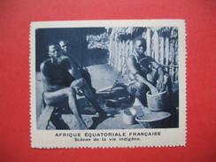 Chromo Image Vignette AEF - Scènes De La Vie Indigène  - Afrique Equatoriale Française 6.5 X 7.5 Cm - Chromos