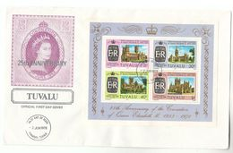 1978 TUVALU FDC Miniature Sheet ROYAL CORONATION Stamps Cover Royalty Cathedral Wells Hereford Salisbury  Church - Tuvalu