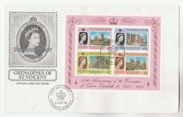 1978 ST VINCENT GRENADINES FDC Miniature Sheet ROYAL CORONATION Stamps Cover Cathedral Church Royalty Religion - St.Vincent (...-1979)