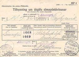 ICELAND - ZAHLUNGSANWEISUNG 1934 DIENSTMARKEN Mi #39/40 - Dienstpost