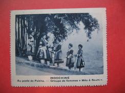 """Chromo Image Vignette  Indochine - Au Poste De Pakha - Groupe De Femme """" Méo à Fleurs""""   -  6.5 X 7.5 Cm - Chromos"""