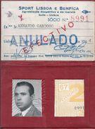 Cartão De Sócio Do Benfica,Portugal.Membership Card Sport Lisboa Benfica.Mitgliedskarte Benfica.Meister.Eusébio.2sc.Rare - Sport
