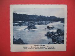 Chromo Image Vignette  Indochine -  Laos - Province Luang Prabang - Un Radeau Descendant Le Mékong -  6.5 X 7.5 Cm - Chromos