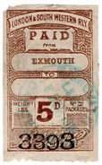 (I.B) London & South Western Railway : Paid Parcel 5d (Exmouth) - 1840-1901 (Victoria)
