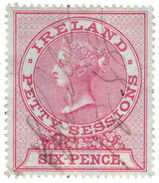 (I.B) QV Revenue : Ireland Petty Sessions 6d (1881) Blued Paper - 1840-1901 (Victoria)
