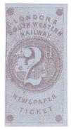 (I.B) London & South Western Railway : Newspaper Ticket 2d (proof) - 1840-1901 (Victoria)