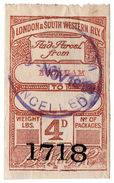 (I.B) London & South Western Railway : Paid Parcel 4d (Bookham) - 1840-1901 (Victoria)