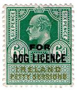 (I.B) Edward VII Revenue : Ireland Dog Licence 6d - 1902-1951 (Könige)