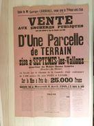 Vente Aux Enchères Publiques D'une Parcelle De Terrain. 6 Avril 1949. Septemes-les-Vallons - Affiches