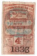 (I.B) London & South Western Railway : Paid Parcel 4d (Lymington Town) - 1840-1901 (Victoria)