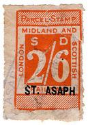 (I.B) London Midland & Scottish Railway : Parcel 2/6d (St Asaph) - 1840-1901 (Victoria)