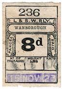(I.B) London & South Western Railway : Paid Parcel 8d (Wanborough) - 1840-1901 (Victoria)