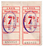 (I.B) London & North Eastern Railway : Parcel Stamp 7d (Durham) - 1840-1901 (Victoria)