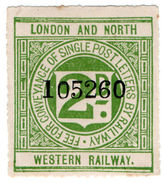 (I.B) London & North Western Railway : Letter Stamp 2d - 1840-1901 (Victoria)