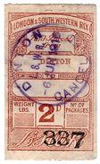 (I.B) London & South Western Railway : Paid Parcel 2d (Dinton) - 1840-1901 (Victoria)