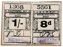 (I.B) London & South Western Railway : Paid Parcel 1/8d (Bournemouth West) - 1840-1901 (Victoria)