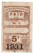 (I.B) London & South Western Railway : Paid Parcel 5d (Portsmouth Town) - 1840-1901 (Victoria)