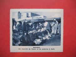Chromo Image Vignette  Maroc -Un Marché De Tissus Et De Poteries à Salé  -   6.5 X 7.5 Cm - Chromos