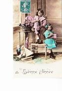 BONNE ANNEE, Enfants, Violon, Marionnette, Voilier De Bassin, Ed. PR 1910 Environ - Nouvel An