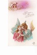 BONNE ANNEE, 2 Anges, Maison Sous La Neige, Ed. DEDE 1910 Environ - Nouvel An