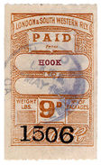 (I.B) London & South Western Railway : Paid Parcel 9d (Hook) - 1840-1901 (Victoria)