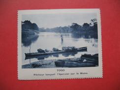 Chromo Image Vignette  Togo -  Pêcheur Lançant L'épervier Sur Le Mono -   6.5 X 7.5 Cm - Chromos