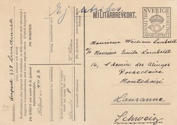SWEDEN - MILITARY POST CARD TO LAUSANNE SWIZERLAND  / 1 - Suecia
