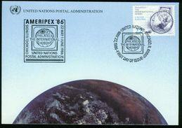ER UNO New York - Ausstellungskarte (Show Card) Ameripex '86, Chicago 22.5.1986 - MiNr SC 1 Mit Ersttagstempel - New York -  VN Hauptquartier