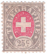 (I.B) Switzerland Telegraphs : 25c Grey & Pink (1881) - Unclassified