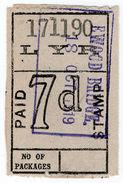 (I.B) Lancashire & Yorkshire Railway : Parcel Stamp 7d (Ewood Bridge) - 1840-1901 (Victoria)