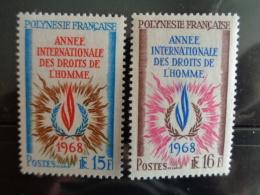 POLYNESIE 1968 Y&T N° 62 & 63 ** - ANNEE INTERNATIONALE DES DROITS DE L'HOMME - Ungebraucht