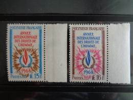 POLYNESIE 1968 Y&T N° 62 & 63 ** - ANNEE INTERNATIONALE DES DROITS DE L'HOMME - Ongebruikt
