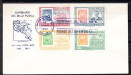 COSTA RICA 1963.  FDC. CENTENAIRE DU  TIMBRE POSTE . SÉRIE COMPLETE  CECI 1 Nº 508 - Costa Rica