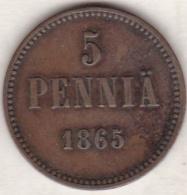 Finlande . 5 Pennia 1865 . Alexander II - Finlande