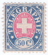 (I.B) Switzerland Telegraphs : 50c Blue & Pink (1881) - Switzerland