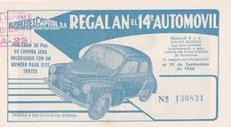 Billet Almacenes Capitol Regalan El 14è Automovil 29/09/1956  4 CV Renault - Spain