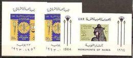 1963 1964 Egitto Egypt UAR 3 FOGLIETTI N°14, 14A  ('63) + N°16 ('64) MNH** 3 Souv. Sheets - Blocchi & Foglietti