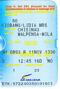2017  , Avion Ticket , Boarding Pass.,  Chisinau -  Malpensa  ,Milano, Used - Plane